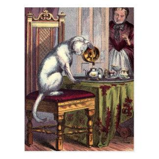 Vintage Illustration: Puss Making tea Postcard