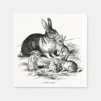 Vintage Illustration Rabbit Family Bunny Napkins