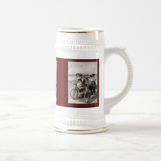 Vintage illustration -racing along the beach 18 oz beer stein