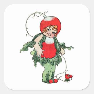 Vintage Illustration ~ Radish Girl Square Sticker