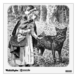 Vintage Illustration Red Riding Hood Wolf in Woods Wall Sticker