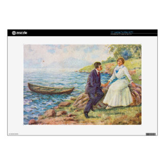 Vintage Illustration Romantic Couple Laptop Decals