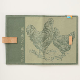 Vintage Illustration Rooster Name Canvas Journal