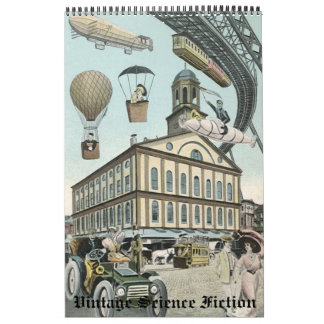 Vintage Illustration Science Fiction Steampunk Calendar