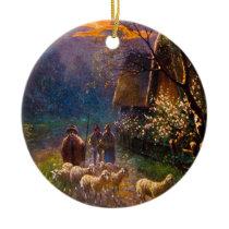 Vintage Illustration, Sheep Herding At Night Ceramic Ornament