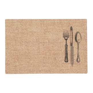 Vintage Illustration Silverware on Burlap Placemat