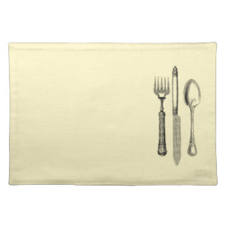 Vintage Illustration Silverware on Cream Cloth Placemat