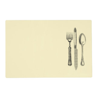 Vintage Illustration Silverware on Cream Placemat