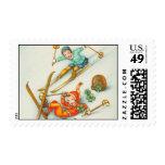 Vintage Illustration, Skiing Girls Stamps