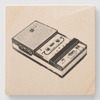 Vintage Illustration Tape Recorder Stone Coaster