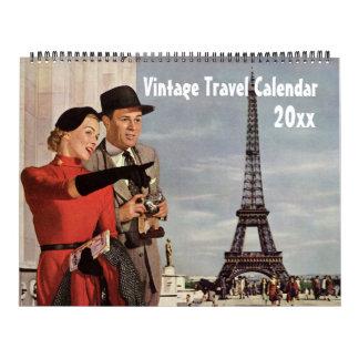 Vintage Illustration Travel and Transportation Calendar