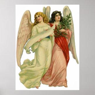 Vintage Illustration Victorian Christmas Angels Poster