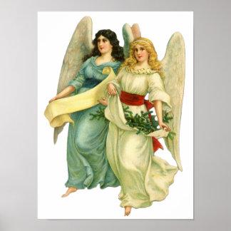 Vintage Illustration Victorian Christmas Angels Print
