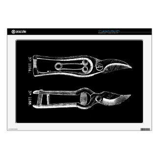 VINTAGE ILLUSTRATION white Pruners Black Skin 2 Decals For Laptops