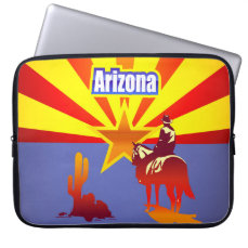 Vintage Illustration With Arizona State Flag Laptop Sleeve
