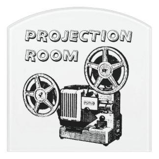 Vintage Ilustration Projector Projection Room Sign Door Sign