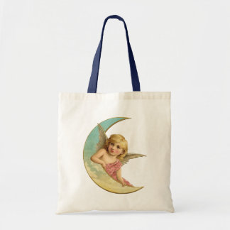 Vintage Image - Angel Sitting on a Crescent Moon Canvas Bags