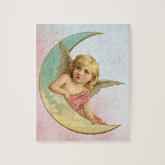 Vintage Image - Angel Sitting on a Crescent Moon Puzzle