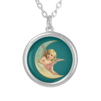 Vintage Image - Angel Sitting on a Crescent Moon Silver Plated Necklace