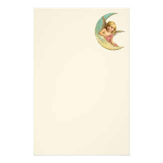Vintage Image - Angel Sitting on a Crescent Moon Stationery