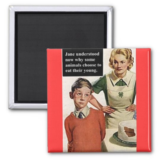 Vintage Image Angry Mom and Cake 2 Inch Square Magnet