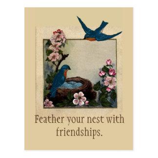Vintage Image Bluebirds, Nest, Eggs, Flowers Postcard