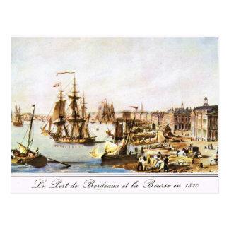 Vintage image, Bordeaux harbour 1820 Postcard