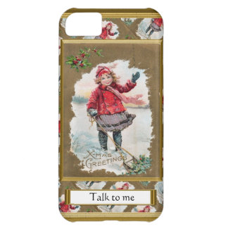 """Vintage image Christmas scene,"""" Talk to me"""" Case For iPhone 5C"""