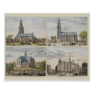 Vintage image, churches in Amsterdam Poster