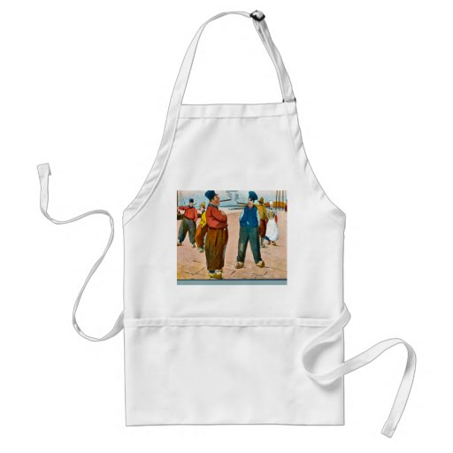 Vintage image, Dutch, meeting on the quay Aprons