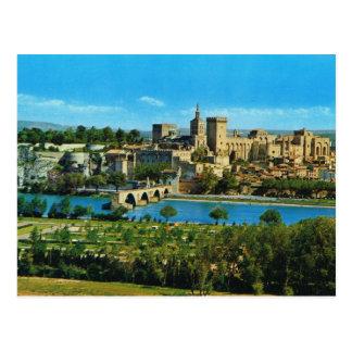 Vintage image, France, Avignon, Bridge and palace Postcard