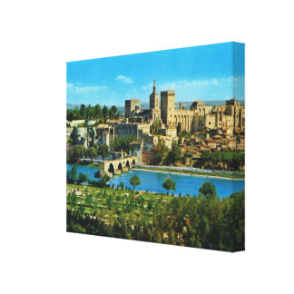 Vintage image, France, Avignon, Bridge and papal p Canvas Print