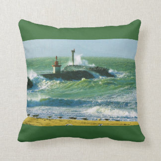 Vintage image, France, Lighthouse, Atlantic coast Throw Pillow