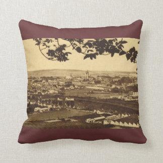 Vintage image, France, Rouen, Sens, vue generale Throw Pillow