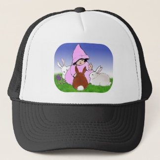 Vintage Image- Girl and Three Rabbits Trucker Hat
