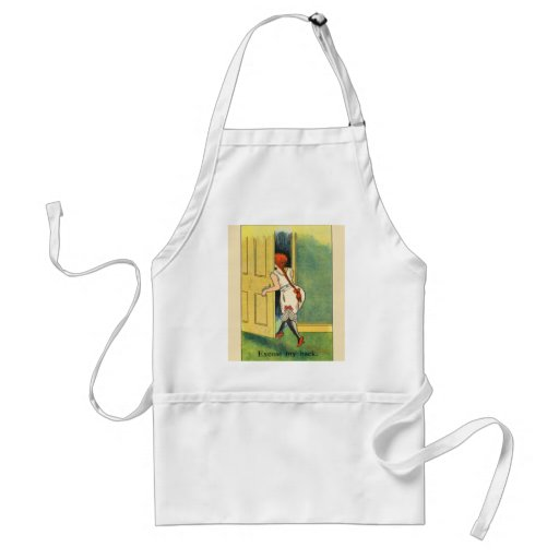 Vintage image,Humour, Excuse my back Apron
