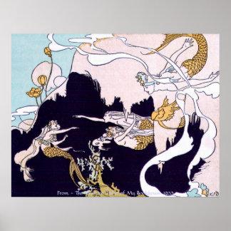 Vintage Image - Mermaids at Play Posters