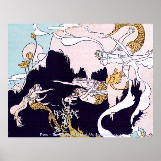 Vintage Image - Mermaids at Play Poster