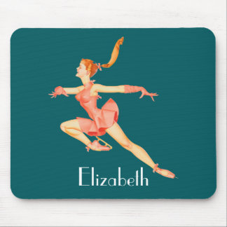 Vintage Image of A Figure Skater In A Pink Outfit Mouse Pad