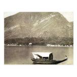 Vintage image of Lake Como, traditional lake boat Postcards