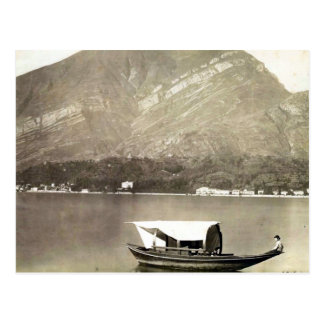 Vintage image of Lake Como traditional lake boat Postcards