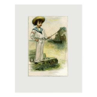 Vintage Image of Little Sailor Boy Catching Fish Postcard