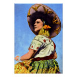 Vintage image of Senorita in Traditional Garb Print
