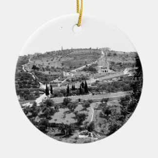 Vintage Image of the Mount of Olives Ceramic Ornament