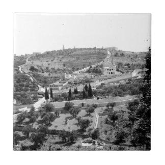 Vintage Image of the Mount of Olives Tile