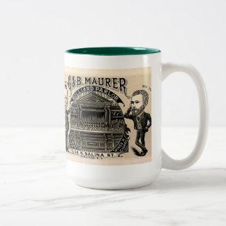 Vintage Image on Mug: Billiard Parlor or Pool Room Two-Tone Coffee Mug
