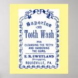 Vintage Image on Tooth Wash Dental Hygiene Poster