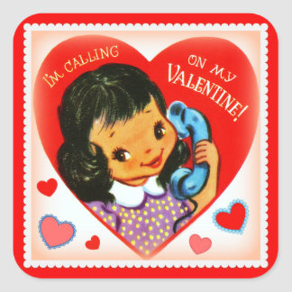 Vintage Image Valentine Little Girl Stickers