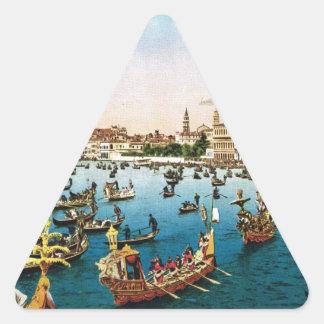 Vintage image, Venice regatta 1910 Triangle Sticker
