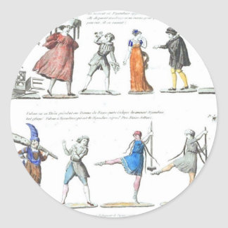 Vintage Images Fashionable French Ballet Classic Round Sticker